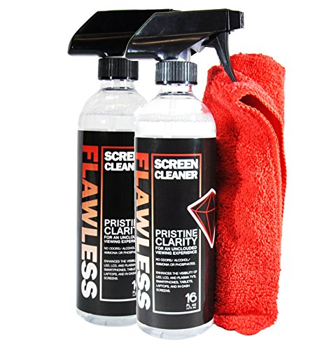 Flawless Screen Cleaner Spray with Microfiber Cleaning Cloth for LCD LED Displays on Computer TV iPad Tablet Phone and More 16oz 2 Pack