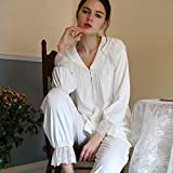 stjdm camicia da notte,winter white women sleep pigiama set pigiameria abiti da notte plus size 2 pezzi camicia da notte mantieni caldo s bianco