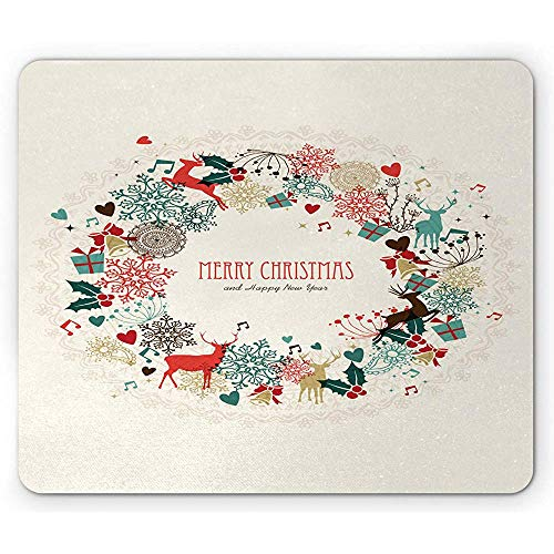 Kerstmis muismat, vintage slinger geïnspireerd rond met handgetekende stijl seizoensgebonden print, anti-slip rubberen muismat, multicolor