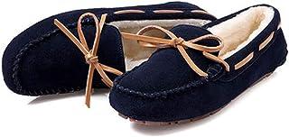 ZXCP Mocasines Mujer Invierno de Gamuza Cuero Slip on Suaves Forro Caliente Zapatos Zapatillas Planos Casuales Zapatos de ...
