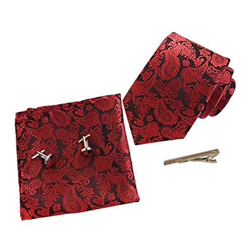 KRUIHAN 4 Pcs Herren Krawatten Set - Klassische Krawatte Floral Stickerei Einstecktuch mit Krawattennadel Manschettenknöpfe Hochzeitsfest Anzug Zubehör für Papa, Ehemann, Freund Weinrot