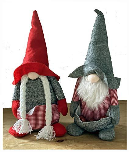 heimtexland  - Fermaporta a forma di Babbo Natale con tasca sul pancia, 35 cm, decorazione a quadretti, colore: Rosso