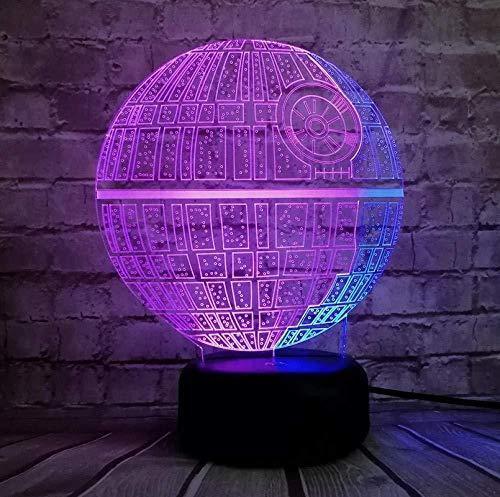 Lámpara Figura Estrella de la Muerte Luz de noche de colores mezclados Lámpara USB LED 3D Regalo de Navidad para niños Juguetes para niños de dibujos animados Touch-touch