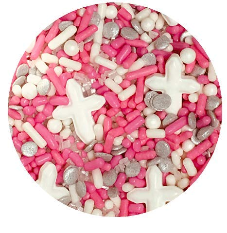 First Communion Baptism White Cross Pink Sprinkles & More Edible Confetti Cake Cookie Cupcake IceCream Donut Quins - 6oz Jar
