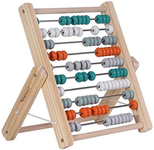 Kindsgut Abakus Rechenschieber aus Holz, zum Zählen und Rechnen bis 100, hochwertige Qualität, dezente Farben und Schlichtes Design, Petrol