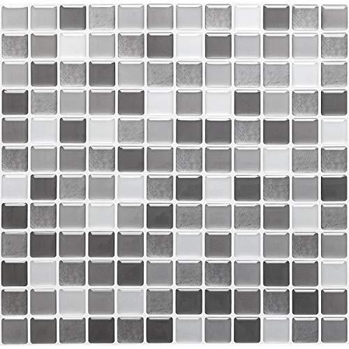 Yoillione 3D Fliesenaufkleber Mosaik Bad Fliesenfolie Küche Selbstklebende 3D Mosaik Fliesen Sticker braun, Wasserdicht Fliesensticker Aufkleber Fliesen Folie für Badezimmer Wohnzimmer, 4er Pack