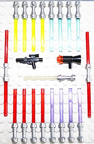 """Lego Star Wars 21 Waffen für Figuren Laserschwerter Blaster TOP Waffenset 2010 Griff in der neuen Farbe """"FLAT SILVER"""""""