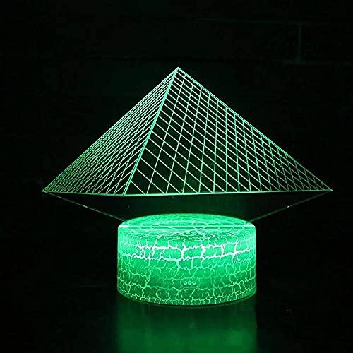 Iluminación de decoración piramidal de luz nocturna 3d para-7 colores cambiantes