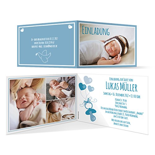 Taufe Einladungskarten (10 Stück) - Schnuller in Blau - Taufeinladung Taufkarten