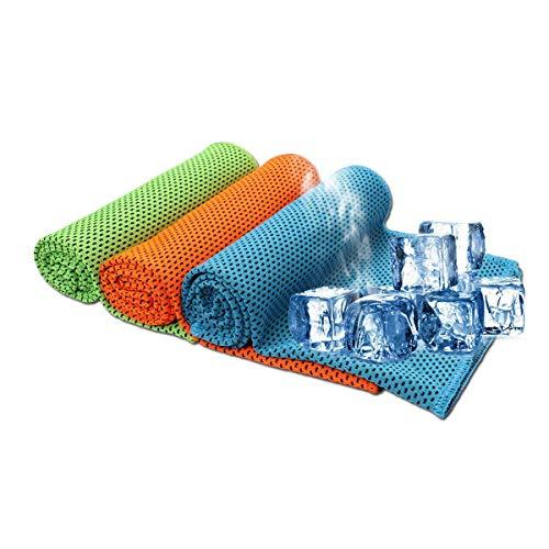 Ruiuzi 3 Pack Kühlung Handtuch, Ice Handtuch, weiches, atmungsaktives Chilly Handtuch, Mikrofaser-Handtuch für Yoga, Sport, Laufen, Fitnessraum, Training, Camping, Fitness, Training & mehr (3 Pack)