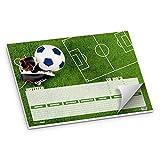 itenga Schreibtischunterlage Fußballfeld DIN A3 50Blatt Schreibunterlage Fußballrasen und Fußballschuhe