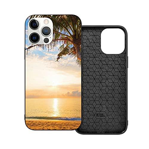 Custodia per iPhone 12 antiurto rigida Pc+Tpu bumper antigraffio tropicale paesaggio marittimo tramonto Palm Trees Phone Covers anti-goccia casi per Iphone 12/12 Pro/12 Mini/12 Pro Max