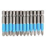 Juego de 12 destornilladores, 1/4 pulgadas, 50 mm, antideslizante, magnético, destornillador de estrella, hexagonal, acero aleado