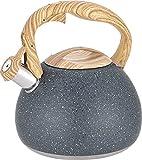 Black Tea Kettle for Stove Top, 3L Stainless Steel Whistling Tea Pot,...