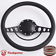 Flashpower 15.5'' Billet Half Wrap 9 Bolts Steering Wheel with 2'' Dish and Horn Button(Black)