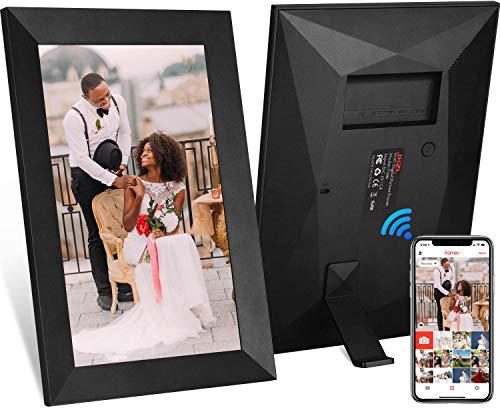 JHZL 10,1 Zoll 16 GB Smart WiFi Cloud Digitaler Bilderrahmen mit 800 x 1280 IPS LCD-Panel, dänisches Design Frameo App Fotos von überall senden, Touchscreen,(schwarz)