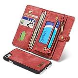 PULLEY-CASE - Cartera con cremallera para iPhone 8/SE2020, 2 en 1, multifunción, de piel, con ranuras para tarjetas de crédito y tapa abatible, para iPhone 7 (color: rojo)