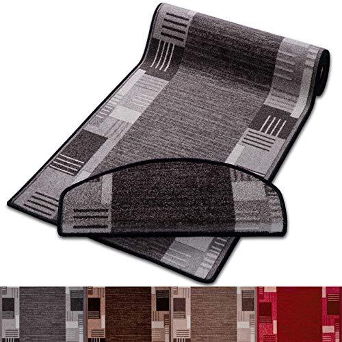 casa pura Stufenmatten mit Zeitloser Musterung | grau | Qualitätsprodukt aus Deutschland | GUT Siegel | kombinierbar mit Läufer | 65x23,5cm | halbrund | einzeln oder im Set (15er-Set)