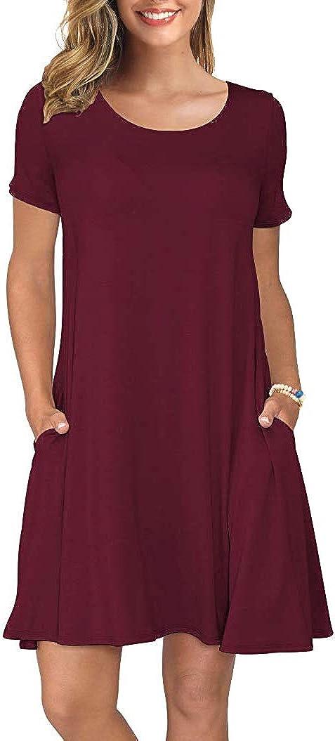 Spmor Women's Short Sleeve Loose Pocket Dresses Plain Casual Knitting Tops