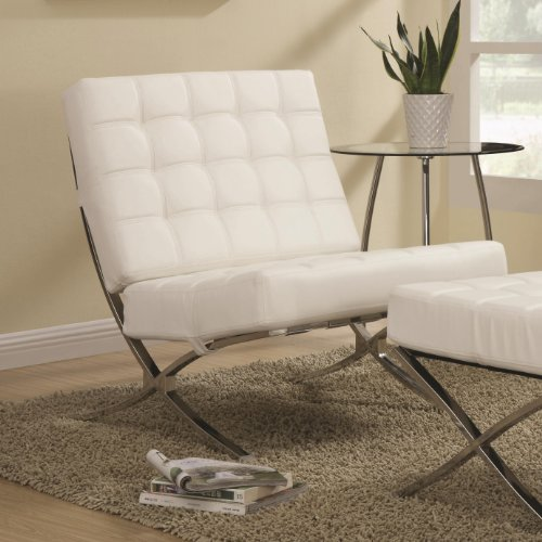Coaster Home Furnishings Modern Barcelona Chair (White) Lounge Leatherette Accent