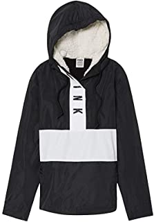 Victoria's Secret Pink Sherpa Lined Hooded Anorak Jacket, Black/White