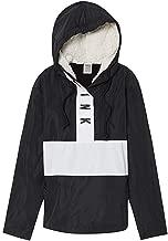 Victoria's Secret Pink Sherpa Lined Hooded Anorak Jacket, Black/White, Medium/Large