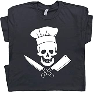 Chef T Shirt Butcher T Shirt Meat Cleaver Knife Skull Sous Tee BBQ Apron Hat Fat Foodie Graphic