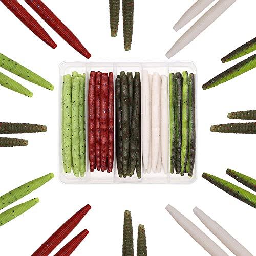 Senko Worms Bass Fishing Lure Kit 30 pk Wacky Rig Worms Soft Plastic...