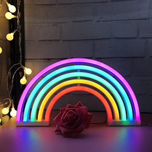 QiaoFei Arcobaleno Carino Insegna al Neon,Arcobaleno Luce Notturna Decorazioni da Parete per Ragazze Camera da Letto, Natale, Festa di Compleanno, Camera dei Bambini, Soggiorno, Regalo per Bambini
