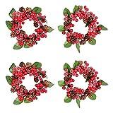 Kirmax Paquete de 4 Anillos de Velas de Navidad con Cuentas Rojas de Cono de Pino, Candelabro con Luz de Té, Coronas para Mesa de Fiesta