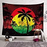 Sunset Landscape Tapestry 80x60in Twilight Palm Trees Retro Reggae Color Music Events Wall Blanket Tapestries Home Hanging Murals GTLLSH198