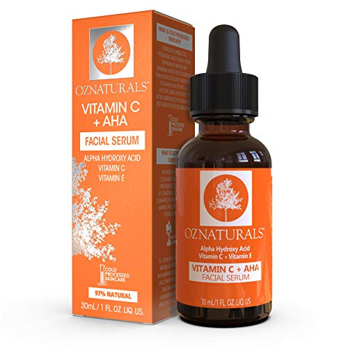 Oz naturals Vitamin C Serum + AHA For Skin - Anti Aging Anti Wrinkle Serum Combines Potent Vitamin C with Natural Alpha Hydroxy Acids Which Deliver The Youthful Glow You've Been Looking For!