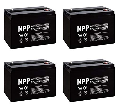 NPP NP6-200Ah 6V 200Ah AGM Deep Cycle SLA Rechargeable Battery for Golf Cart RV Boat Camper Solar (4 Pack)