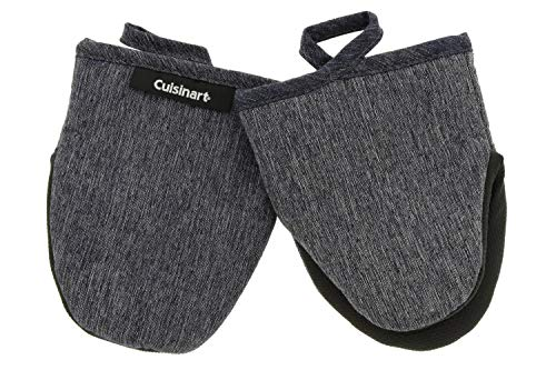 Cuisinart Mini Oven Mitts w/Neoprene for Easy Gripping, Chambray Kitchen Glove Accessory, Heat Resistant up to 500 degrees F, 13.9 x 17.7 cm, Set of 2 - Charcoal