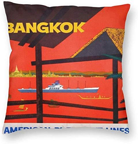 Thailand Bangkok American Cruise Ship Segeln Kissenbezug Einzigartige Kissenbezug Kreative Kissenbezüge mit Reißverschluss Home Dekorativer Druck Kissenbezug für Sofa Couch Couch(18'x18' / 45x45cm)