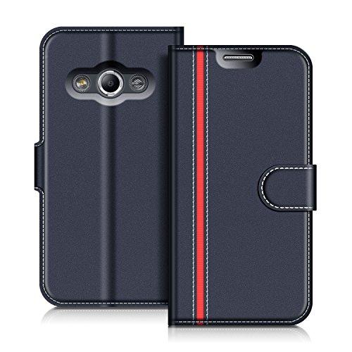 COODIO Handyhülle für Samsung Galaxy Xcover 3 Handy Hülle, Samsung Galaxy Xcover 3 Hülle Leder Handytasche für Samsung Galaxy Xcover 3 Klapphülle Tasche, Dunkel Blau/Rot