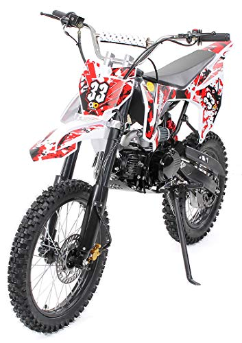 Kinder Jugend Crossbike Enduro Motocrossbike 125cc 4Takt Motocross Motorrad Cross 84cm Sitzhöhe für Jugendliche 17 Zoll Vorderrad (Weiß)
