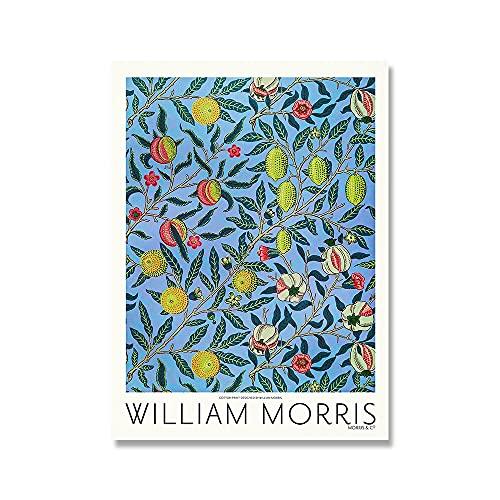 Póster de exposición impreso en lienzo de William Morris, pintura en lienzo sin marco de la familia Art Nouveau del metro de Londres A2 30x40cm