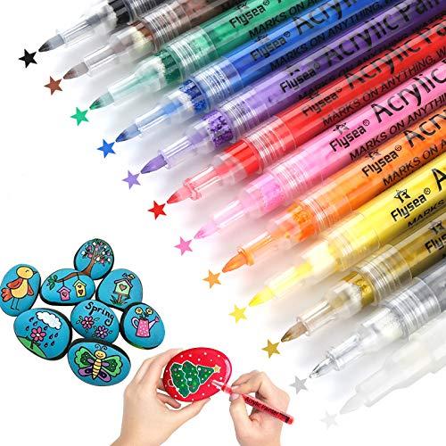 Guiffly Rotuladores de Pintura Acrílica Rotuladores Permanentes de Colores Para Plástico Piedra Cerámica Vidrio Madera Tela - 12 Colores y 0.7 mm Fina