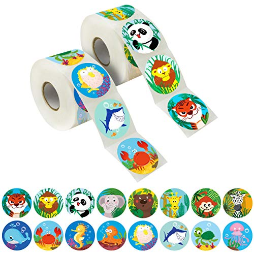 """600 Pcs Round Zoo Marine Animal Stickers in 16 Designs with Perforated Line Expanded Version (Each measures 1.5"""" in diameter)"""