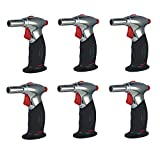 Turbo Blue Jumbo Pistol Torch Dual Flame Lighter Windproof Flame (6-Pack)
