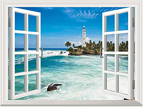 Lighthouse Adhesive Wallpaper Wall Mural Series,Tropical Island Lighthouse with Palm Trees Rocks Wavy Seaside Beach Ocean Wall Mural Home Decor,Adhesive Canvas Oil Painting,Blue White Green,24'x32'