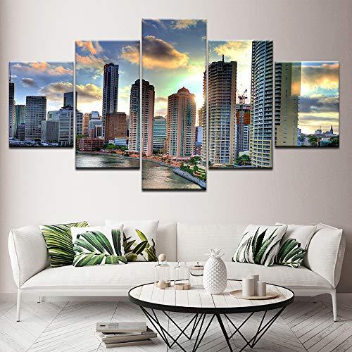 Canvas Schilderij Stadsgezicht 5 Stuks Muurschildering Modulaire Wallpapers Poster Print voor Woonkamer Home Decor Ingelijst