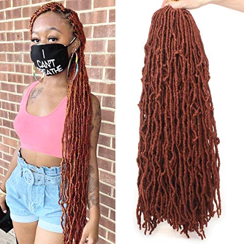 ZRQ 24 Inch New Faux Locs Copper Red Crochet Braids Hair Pre-looped Goddess Locs Curly Wavy Braiding Hair for Woman Knotless Natural Synthetic Hair Extend Afro Roots 21Strands/Pack 350#