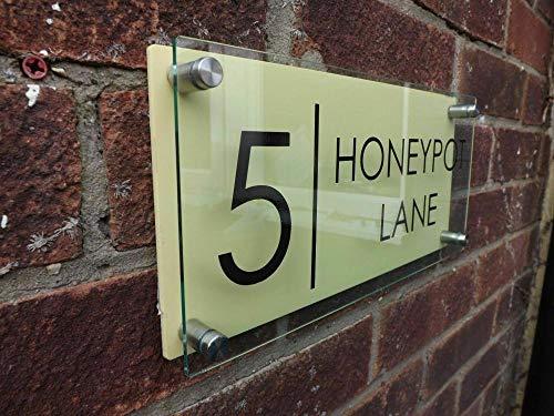 Números Y Placas De Dirección Casa Letrero De Casa Clásico Personalizado Número De Puerta Dirección De Calle Placa Vidrio Moderno-Amarillo_14 Cm * 30 Cm