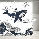 Ozeanwellen-Duschvorhang, Astronauten reitende Wale auf Ozeanwellen, Badezimmervorhänge, Stoff, orientalisch, Vintage, Kanagawa japanische Wellenkunst Dusche Badezimmer mit 12 Haken, 180cm,