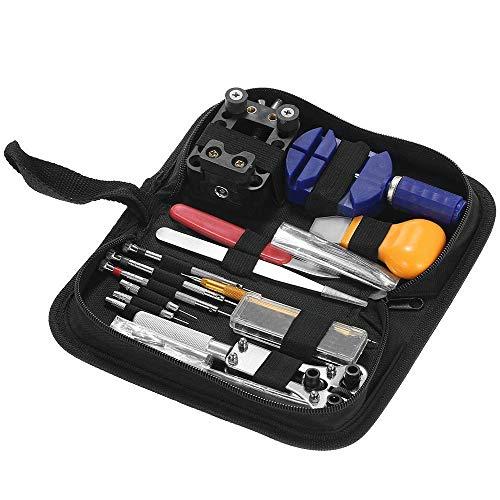 FMOGE Uhrenbatterie-Ersatzwerkzeug-Kit 146PCS Uhrenreparatur-Kit-Kit Uhrenöffner-Kettenblatt-Entferner-Federstreifensatz