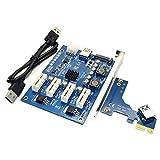 BINGFANG-W PCI-E X1 to 4PCI-E X16 Expansion Kit 1 to 4 Port PCI Express Switch Multiplier HUB 6Pin Sata USB Riser Card for BTC Miner Mining Switch