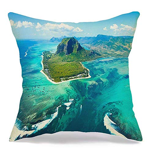 Throw Pillow Covers Case Aerial View Sand Waterfall Mauritius Sky Island Panorama Green Natural Famous Parks World Outdoor 18 x 18 Inch