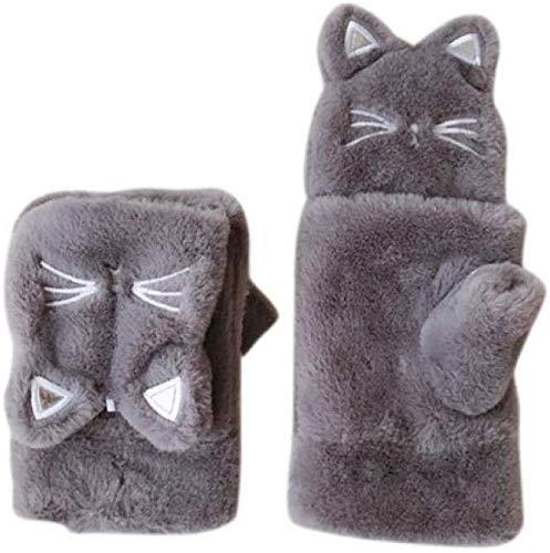 PXX Handschuhe Pelz Handschuhe für Mädchen Winter Handschuhe Frauen Warm Schöne warme Flip über Eindickung Kaninchen-Plüsch-Handschuhe